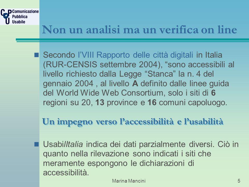 Marina Mancini5 Non un analisi ma un verifica on line Secondo lVIII Rapporto delle città digitali in Italia (RUR-CENSIS settembre 2004), sono accessibili al livello richiesto dalla Legge Stanca la n.