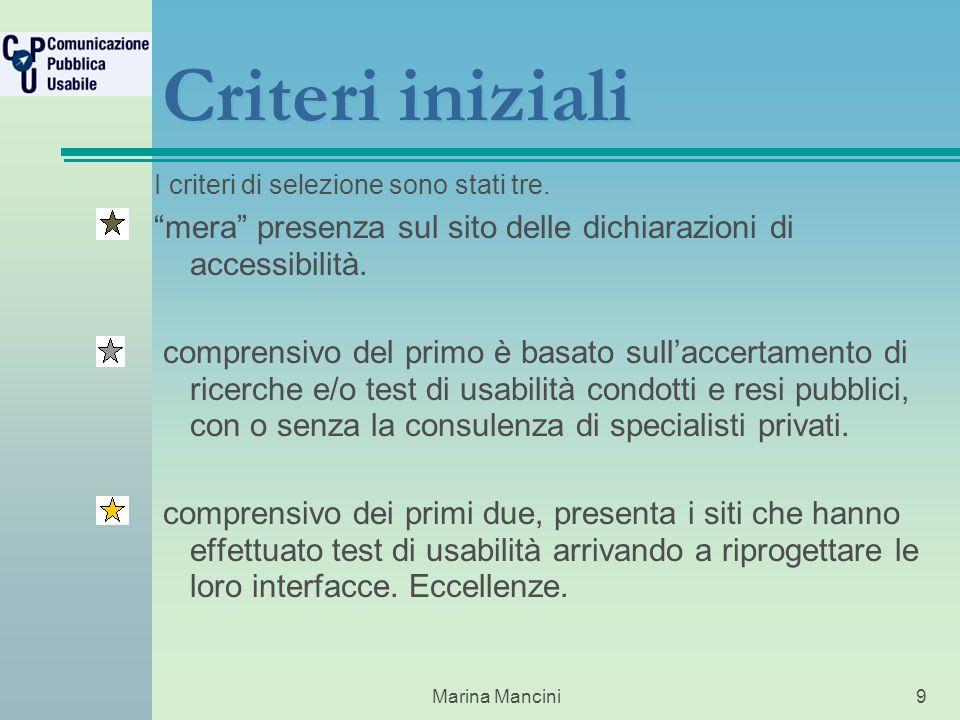 Marina Mancini9 Criteri iniziali I criteri di selezione sono stati tre.