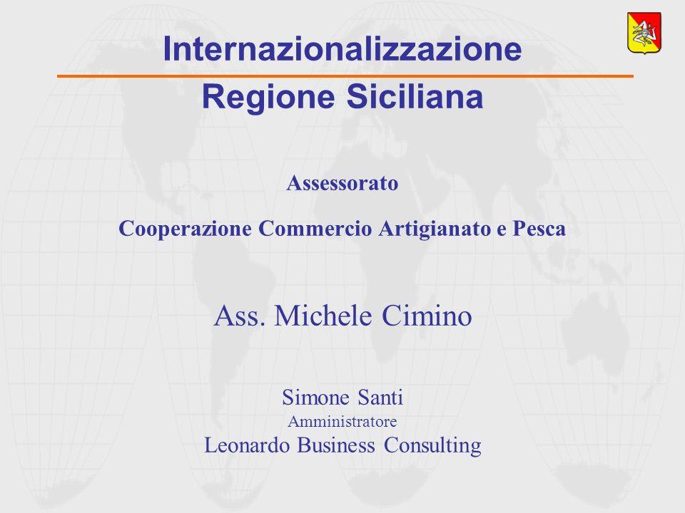 Internazionalizzazione Regione Siciliana Assessorato Cooperazione Commercio Artigianato e Pesca Ass. Michele Cimino Simone Santi Amministratore Leonar
