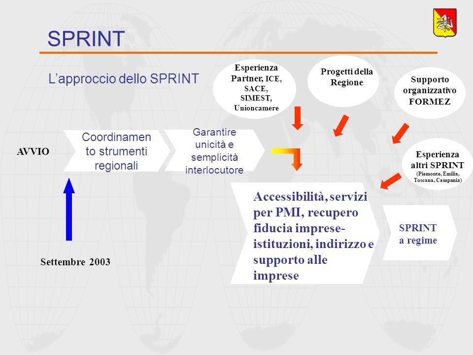 Lapproccio dello SPRINT SPRINT Coordinamen to strumenti regionali Garantire unicità e semplicità interlocutore Settembre 2003 AVVIO Accessibilità, ser