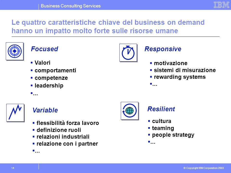 Business Consulting Services © Copyright IBM Corporation 2003 14 Le quattro caratteristiche chiave del business on demand hanno un impatto molto forte sulle risorse umane Valori comportamenti competenze leadership...