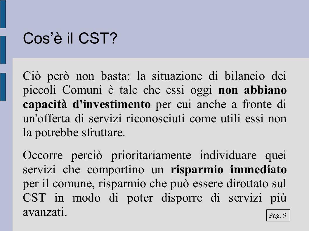 Cosè il CST? Ciò però non basta: la situazione di bilancio dei piccoli Comuni è tale che essi oggi non abbiano capacità d'investimento per cui anche a