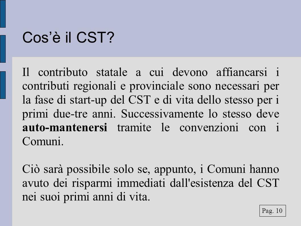 Cosè il CST? Il contributo statale a cui devono affiancarsi i contributi regionali e provinciale sono necessari per la fase di start-up del CST e di v