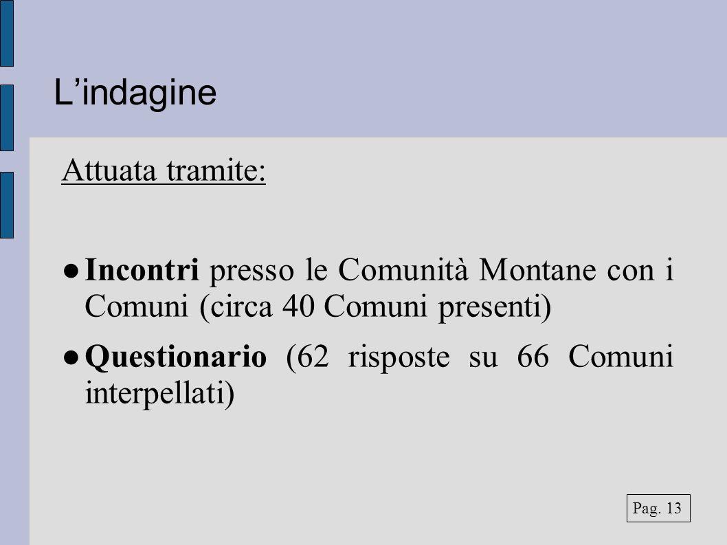 Lindagine Attuata tramite: Incontri presso le Comunità Montane con i Comuni (circa 40 Comuni presenti) Questionario (62 risposte su 66 Comuni interpel