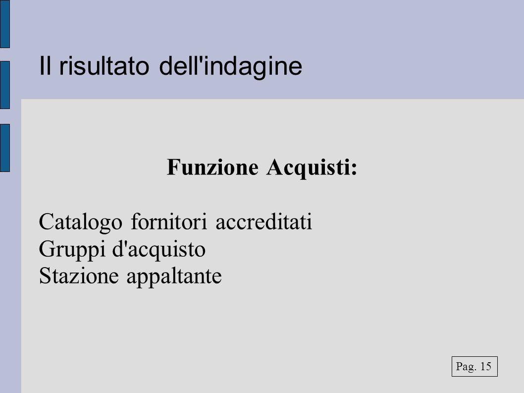 Il risultato dell'indagine Funzione Acquisti: Catalogo fornitori accreditati Gruppi d'acquisto Stazione appaltante Pag. 15