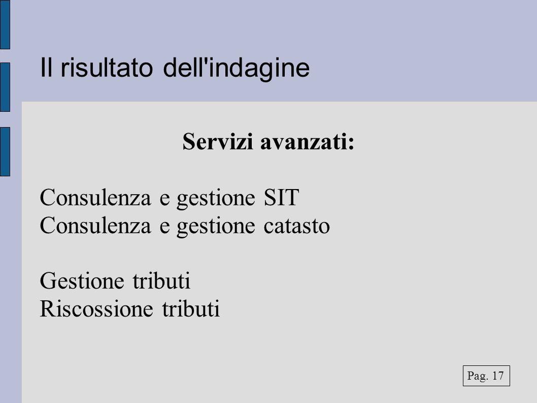 Il risultato dell'indagine Servizi avanzati: Consulenza e gestione SIT Consulenza e gestione catasto Gestione tributi Riscossione tributi Pag. 17