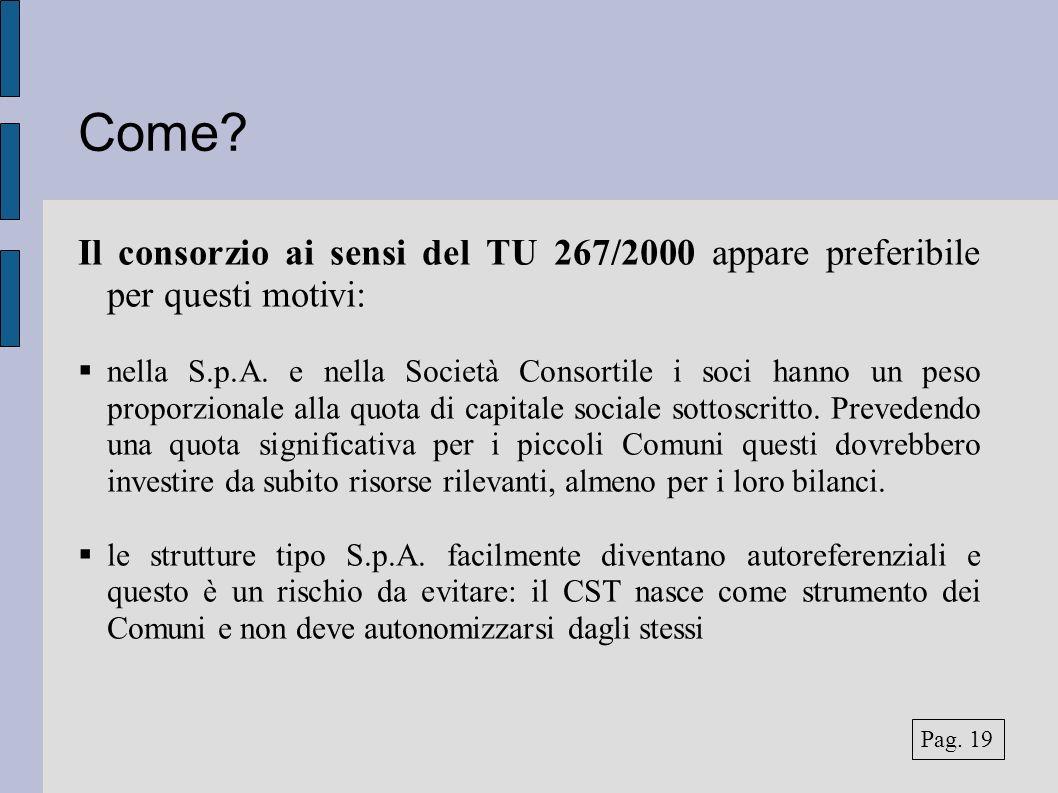 Come? Il consorzio ai sensi del TU 267/2000 appare preferibile per questi motivi: nella S.p.A. e nella Società Consortile i soci hanno un peso proporz