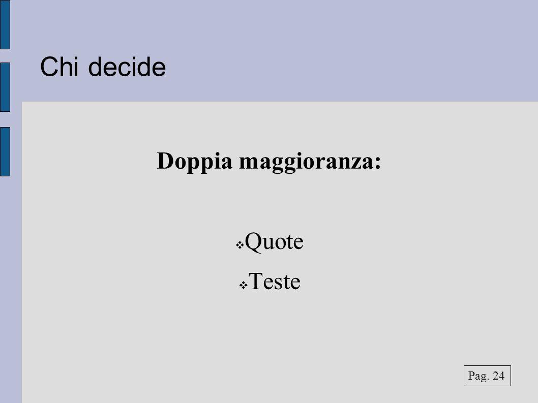 Chi decide Doppia maggioranza: Quote Teste Pag. 24