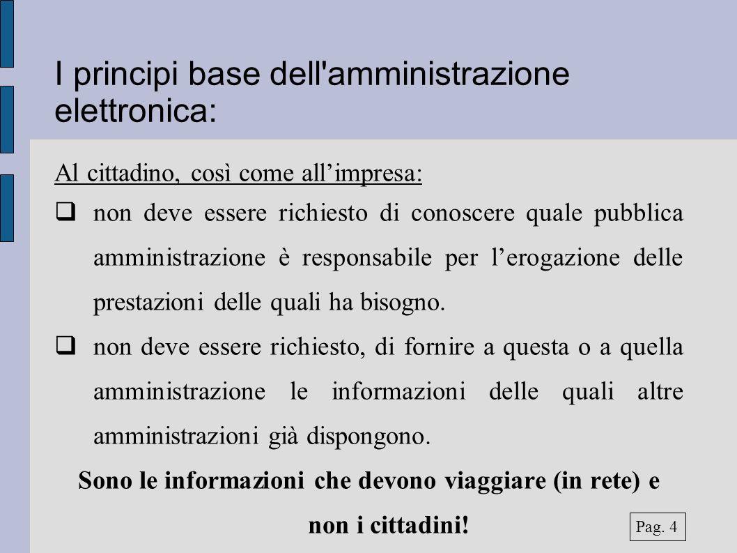 I principi base dell'amministrazione elettronica: Al cittadino, così come allimpresa: non deve essere richiesto di conoscere quale pubblica amministra