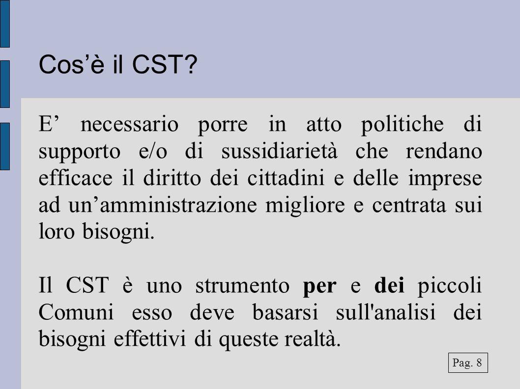 Cosè il CST? E necessario porre in atto politiche di supporto e/o di sussidiarietà che rendano efficace il diritto dei cittadini e delle imprese ad un