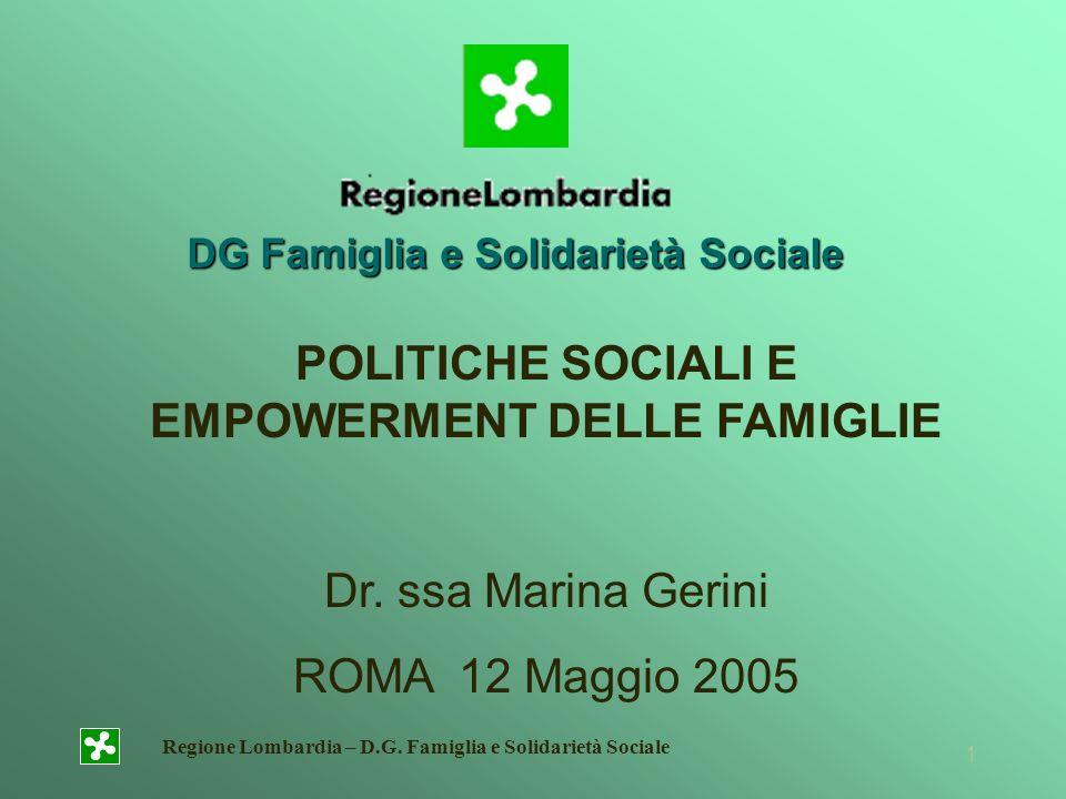 Regione Lombardia – D.G. Famiglia e Solidarietà Sociale 1 DG Famiglia e Solidarietà Sociale POLITICHE SOCIALI E EMPOWERMENT DELLE FAMIGLIE Dr. ssa Mar