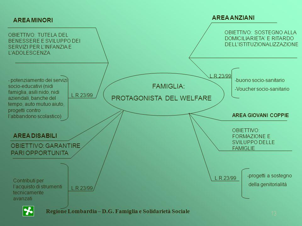 Regione Lombardia – D.G. Famiglia e Solidarietà Sociale 13 AREA MINORI OBIETTIVO: TUTELA DEL BENESSERE E SVILUPPO DEI SERVIZI PER LINFANZIA E LADOLESC