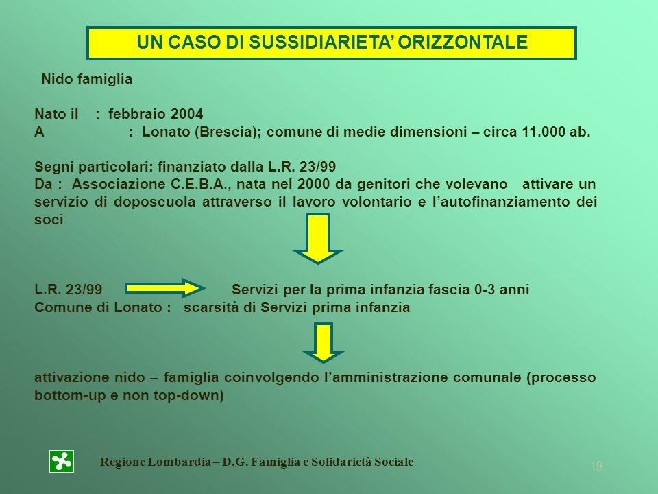 Regione Lombardia – D.G. Famiglia e Solidarietà Sociale 19 Nido famiglia Nato il : febbraio 2004 A : Lonato (Brescia); comune di medie dimensioni – ci