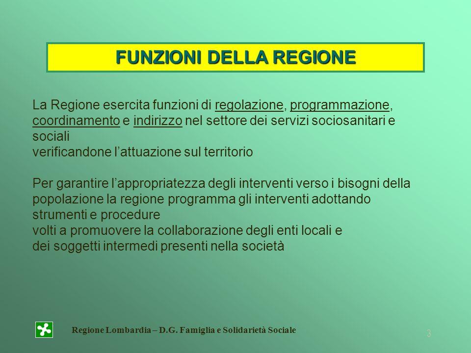 Regione Lombardia – D.G. Famiglia e Solidarietà Sociale 3 La Regione esercita funzioni di regolazione, programmazione, coordinamento e indirizzo nel s