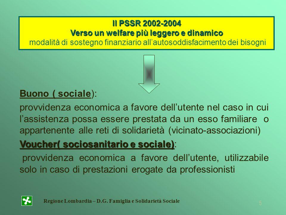 Regione Lombardia – D.G. Famiglia e Solidarietà Sociale 5 Il PSSR 2002-2004 Verso un welfare più leggero e dinamico Il PSSR 2002-2004 Verso un welfare