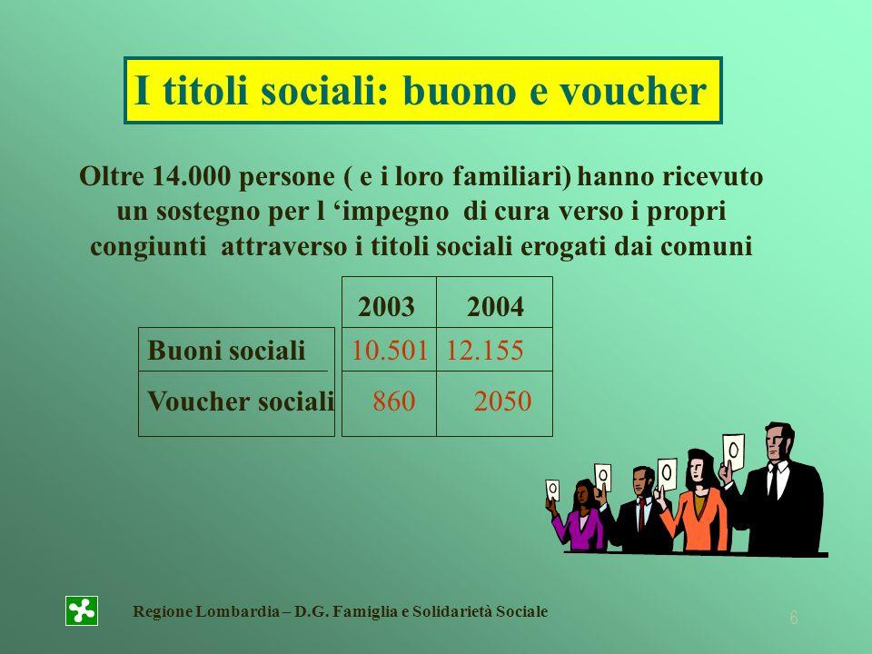 Regione Lombardia – D.G. Famiglia e Solidarietà Sociale 6 Oltre 14.000 persone ( e i loro familiari) hanno ricevuto un sostegno per l impegno di cura
