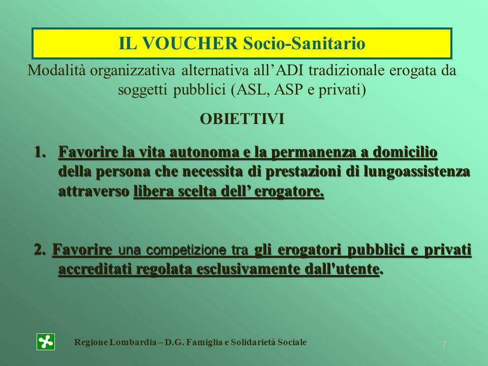 Regione Lombardia – D.G. Famiglia e Solidarietà Sociale 7 1.Favorire la vita autonoma e la permanenza a domicilio della persona che necessita di prest
