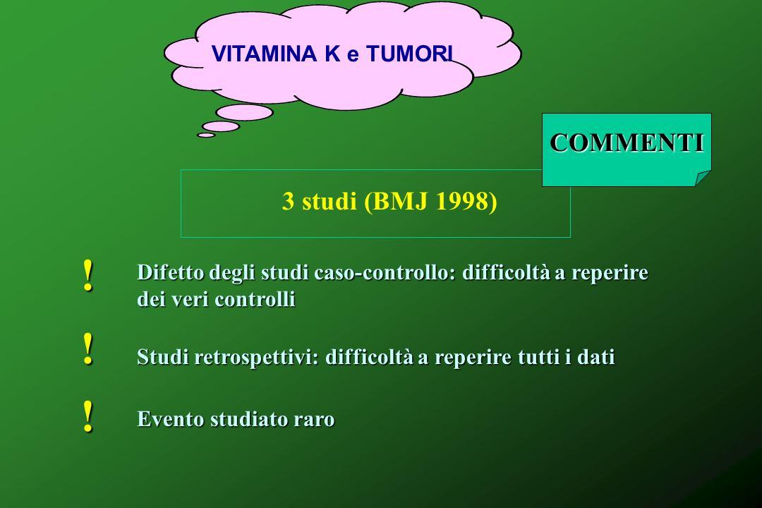 VITAMINA K e TUMORI 3 studi (BMJ 1998) ! Difetto degli studi caso-controllo: difficoltà a reperire dei veri controlli ! Studi retrospettivi: difficolt