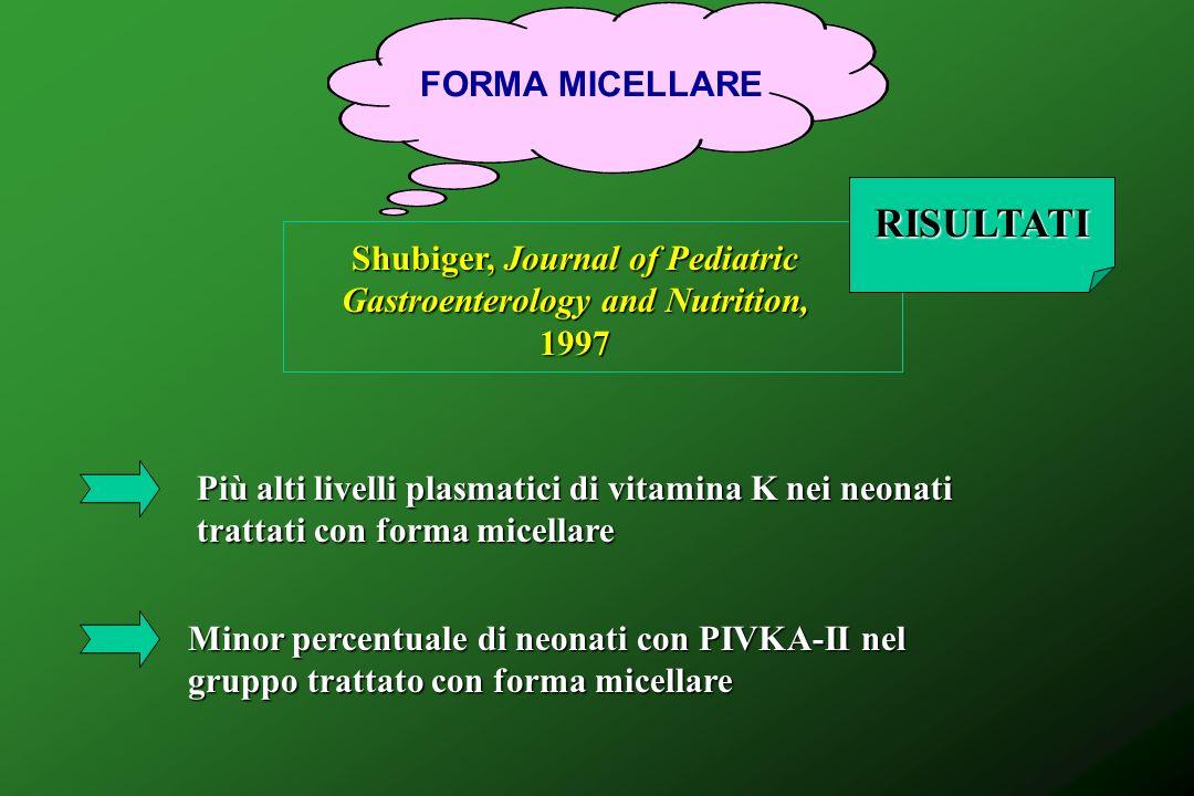 FORMA MICELLARE Shubiger, Journal of Pediatric Gastroenterology and Nutrition, 1997 RISULTATI Più alti livelli plasmatici di vitamina K nei neonati tr