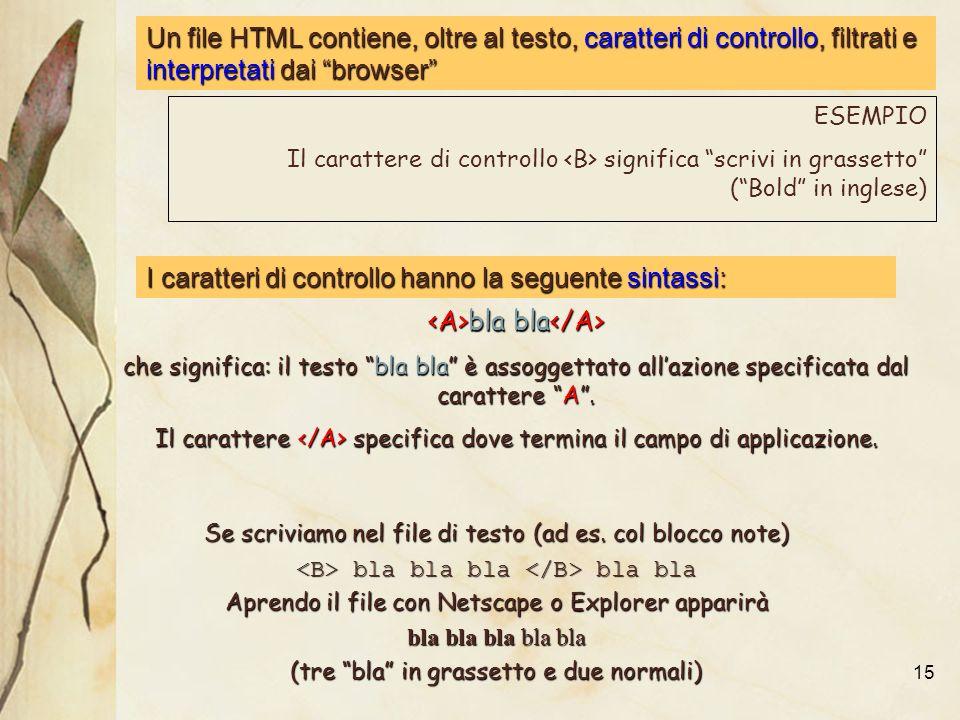 15 Un file HTML contiene, oltre al testo, caratteri di controllo, filtrati e interpretati dai browser bla bla bla bla che significa: il testo bla bla è assoggettato allazione specificata dal carattere A.