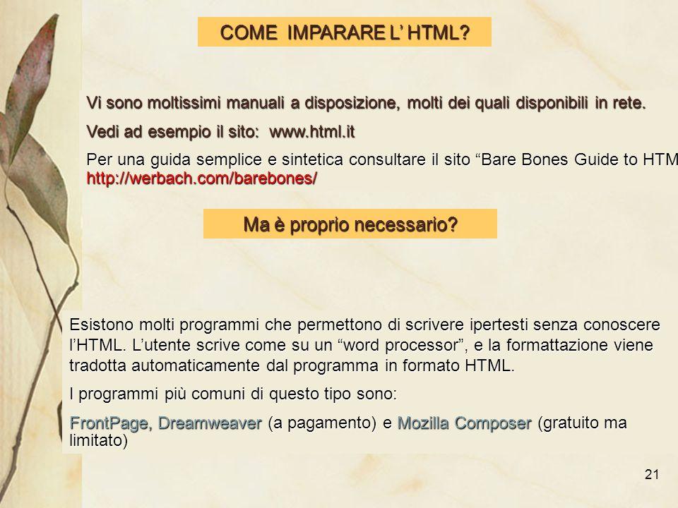 21 COME IMPARARE L HTML.