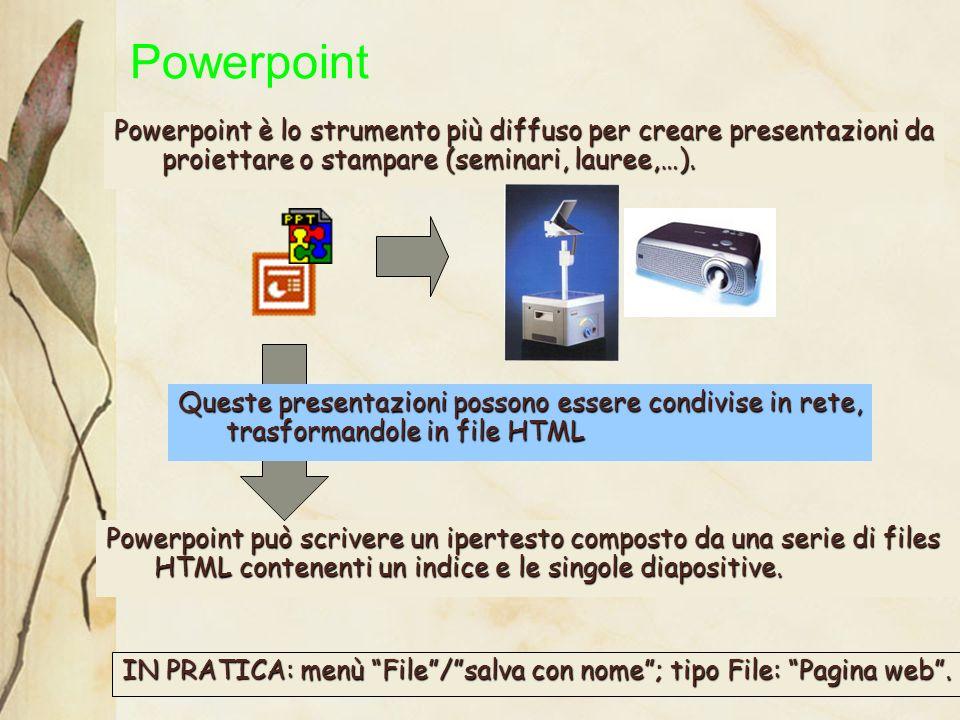 22 Powerpoint è lo strumento più diffuso per creare presentazioni da proiettare o stampare (seminari, lauree,…).