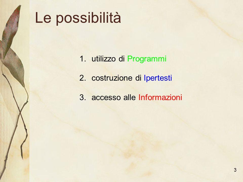 3 Le possibilità 1.utilizzo di Programmi 2.costruzione di Ipertesti 3.accesso alle Informazioni