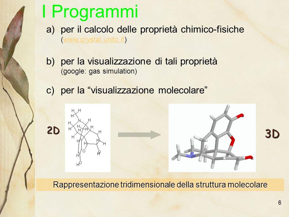 6 I Programmi a)per il calcolo delle proprietà chimico-fisiche (www.crystal.unito.it)www.crystal.unito.it b)per la visualizzazione di tali proprietà (google: gas simulation) c)per la visualizzazione molecolare Rappresentazione tridimensionale della struttura molecolare 2D 3D