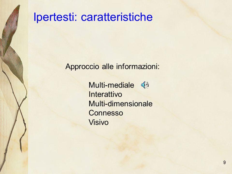 9 Ipertesti: caratteristiche Approccio alle informazioni: Multi-mediale Interattivo Multi-dimensionale Connesso Visivo