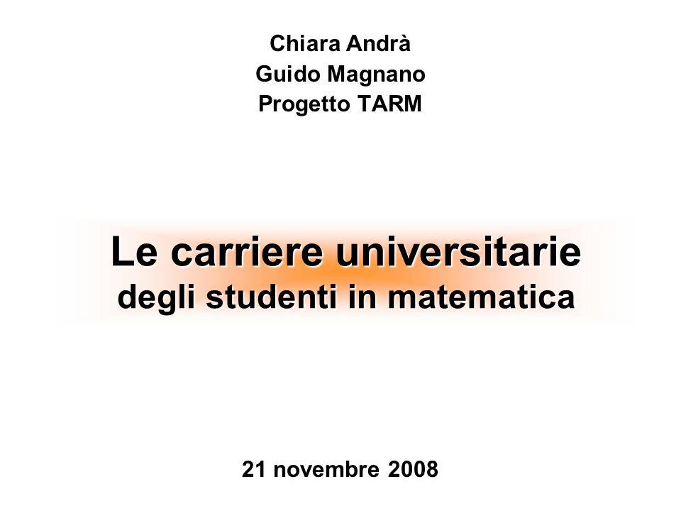 Le carriere universitarie degli studenti in matematica 21 novembre 2008 Chiara Andrà Guido Magnano Progetto TARM