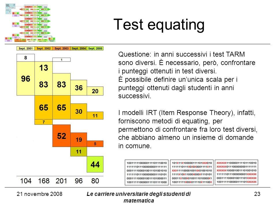 21 novembre 2008Le carriere universitarie degli studenti di matematica 23 Test equating Questione: in anni successivi i test TARM sono diversi. È nece