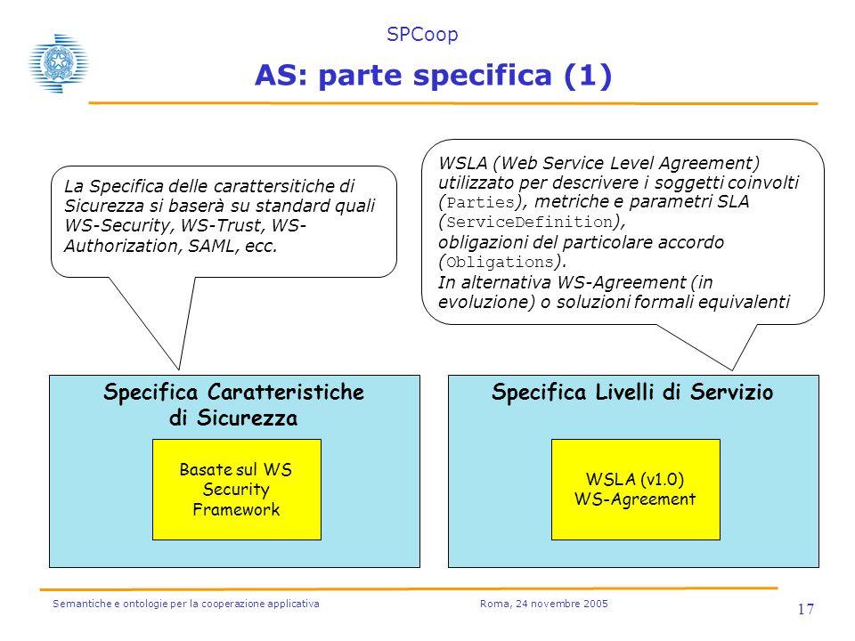 Semantiche e ontologie per la cooperazione applicativa Roma, 24 novembre 2005 17 Specifica Caratteristiche di Sicurezza Basate sul WS Security Framewo