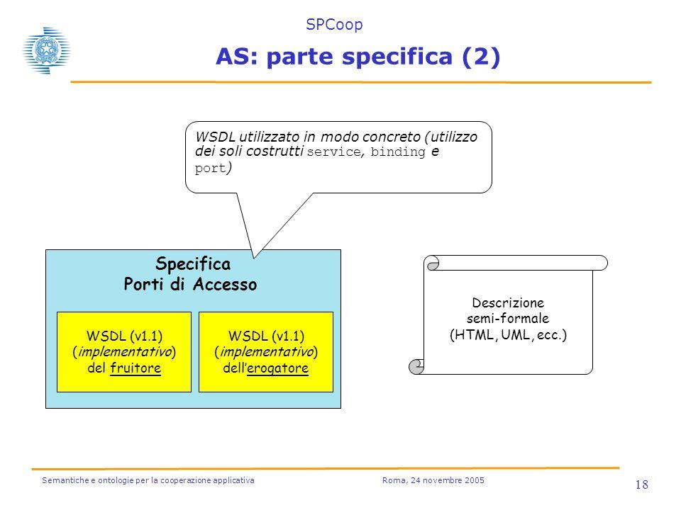 Semantiche e ontologie per la cooperazione applicativa Roma, 24 novembre 2005 18 Specifica Porti di Accesso WSDL (v1.1) (implementativo) del fruitore WSDL (v1.1) (implementativo) dellerogatore WSDL utilizzato in modo concreto (utilizzo dei soli costrutti service, binding e port ) Descrizione semi-formale (HTML, UML, ecc.) AS: parte specifica (2) SPCoop