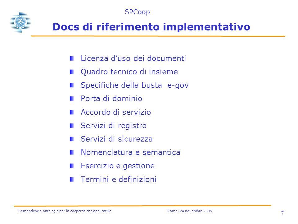 Semantiche e ontologie per la cooperazione applicativa Roma, 24 novembre 2005 7 Docs di riferimento implementativo Licenza duso dei documenti Quadro tecnico di insieme Specifiche della busta e-gov Porta di dominio Accordo di servizio Servizi di registro Servizi di sicurezza Nomenclatura e semantica Esercizio e gestione Termini e definizioni SPCoop