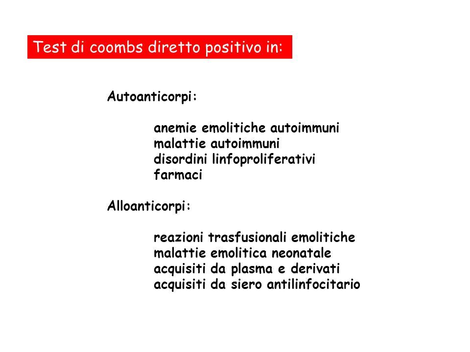 Test di coombs diretto positivo in: Autoanticorpi: anemie emolitiche autoimmuni malattie autoimmuni disordini linfoproliferativi farmaci Alloanticorpi