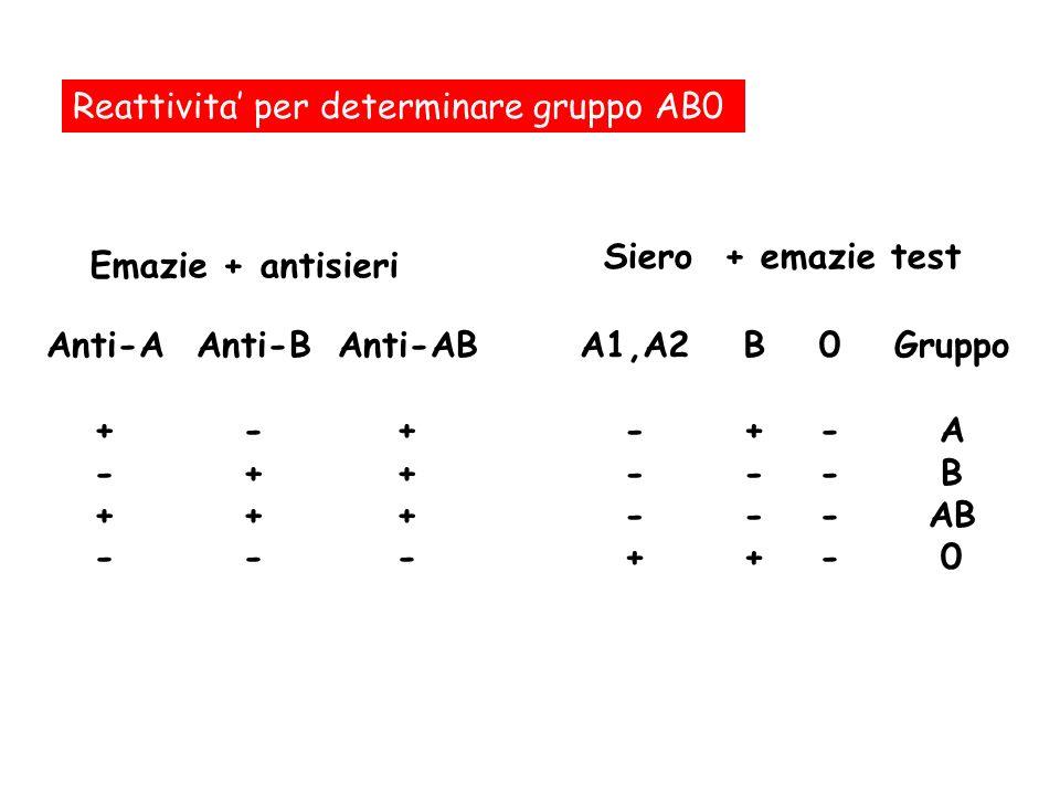 Reattivita per determinare gruppo AB0 Anti-A + - + - Anti-B - + - Anti-AB + - 0----0---- B+--+B+--+ A1,A2 - + Gruppo A B AB 0 Emazie + antisieri Siero