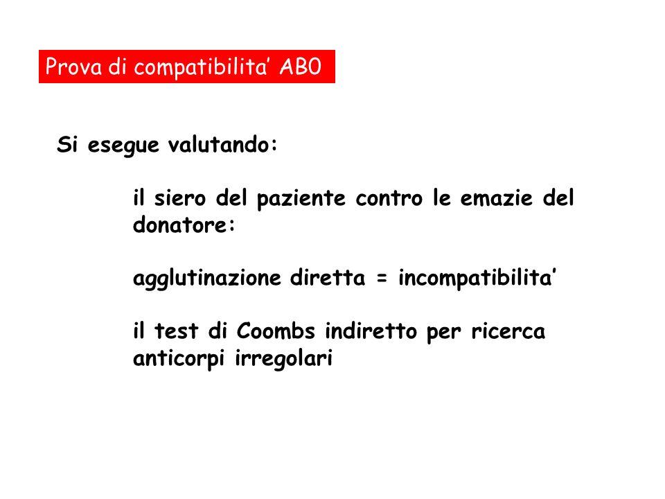 Prova di compatibilita AB0 Si esegue valutando: il siero del paziente contro le emazie del donatore: agglutinazione diretta = incompatibilita il test