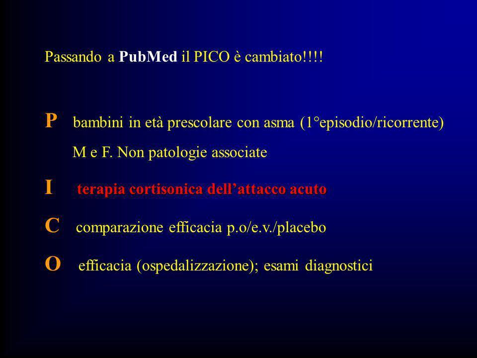 Passando a PubMed il PICO è cambiato!!!.