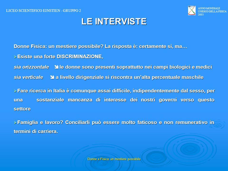 ANNO MONDIALE UNESCO DELLA FISICA 2005 Donne e Fisica: un mestiere possibile LE INTERVISTE Donne Fisica: un mestiere possibile? La risposta è: certame