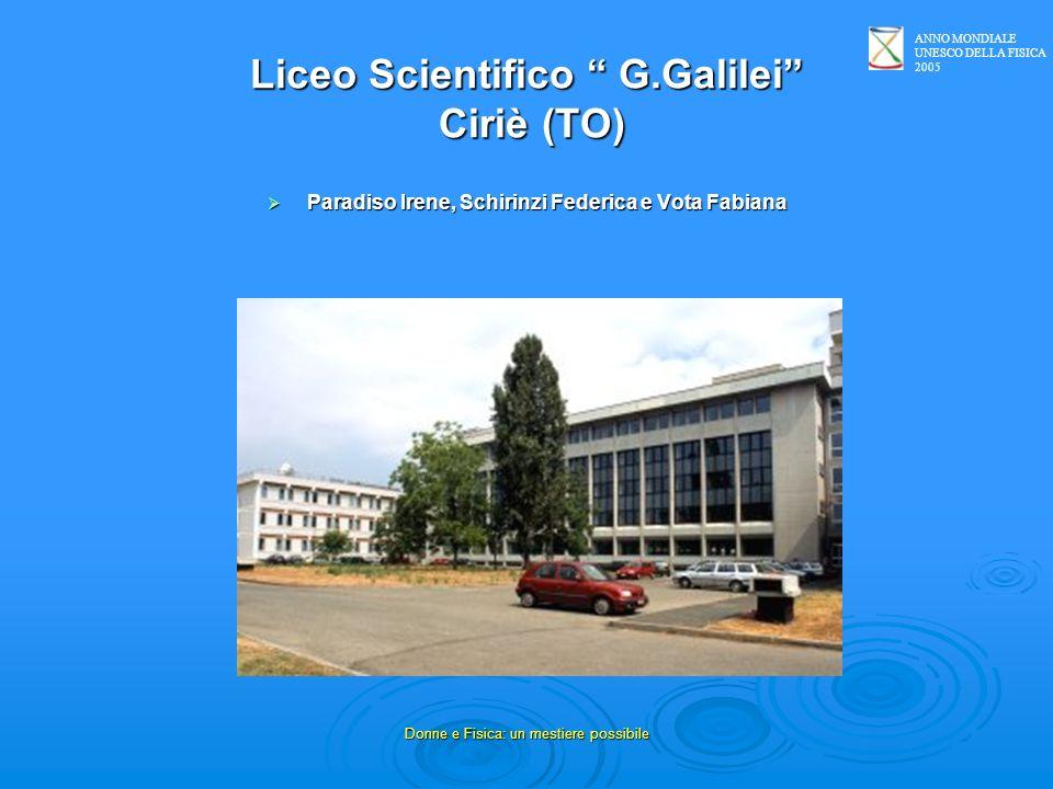 ANNO MONDIALE UNESCO DELLA FISICA 2005 Donne e Fisica: un mestiere possibile Liceo Scientifico G.Galilei Ciriè (TO) Paradiso Irene, Schirinzi Federica