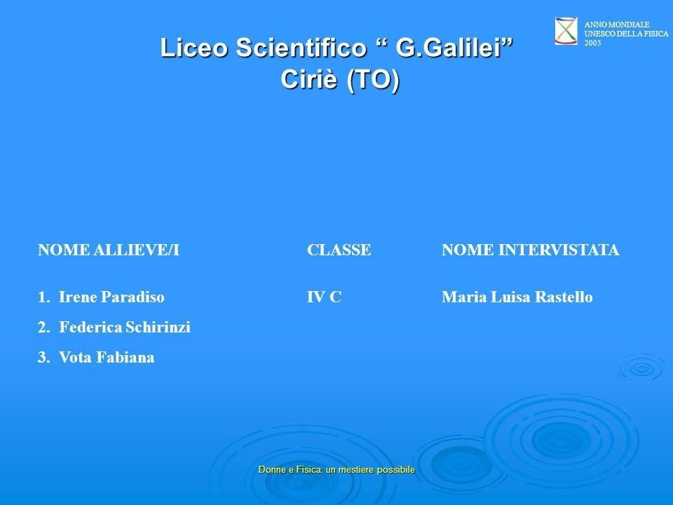 ANNO MONDIALE UNESCO DELLA FISICA 2005 Donne e Fisica: un mestiere possibile Liceo Scientifico G.Galilei Ciriè (TO) NOME ALLIEVE/ICLASSENOME INTERVIST