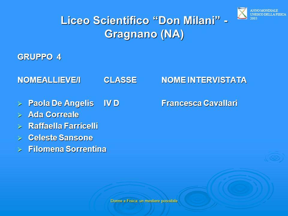 ANNO MONDIALE UNESCO DELLA FISICA 2005 Donne e Fisica: un mestiere possibile Liceo Scientifico Don Milani - Gragnano (NA) GRUPPO 4 NOMEALLIEVE/ICLASSE
