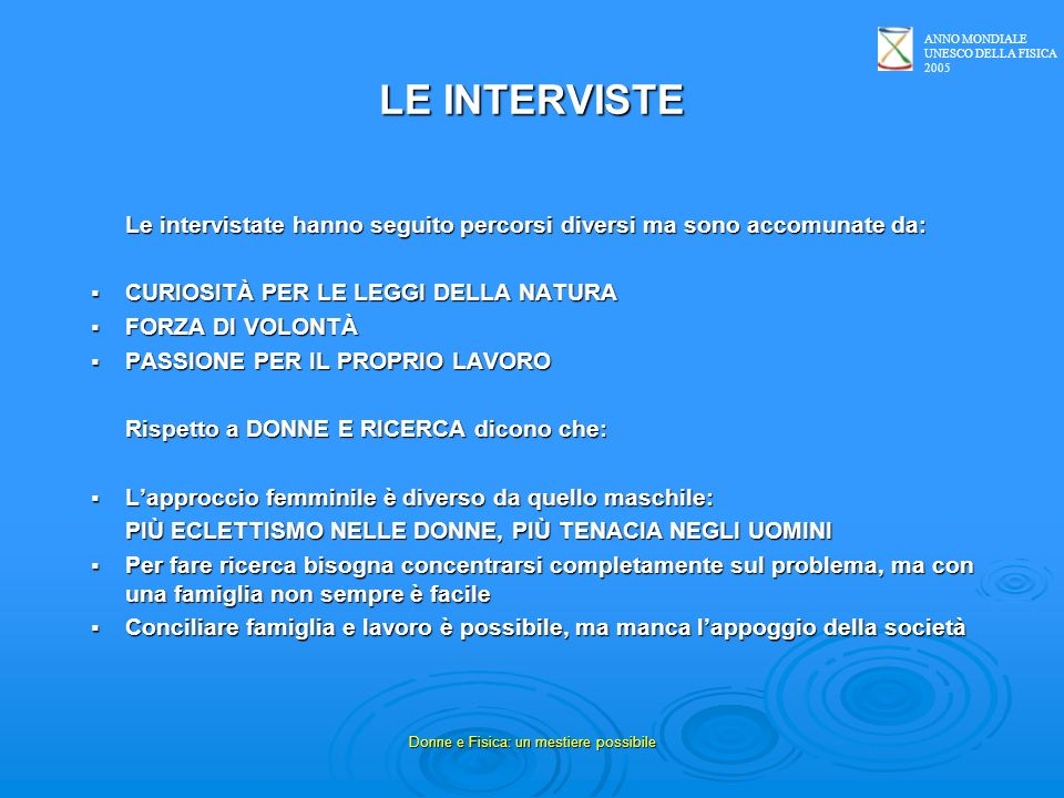 ANNO MONDIALE UNESCO DELLA FISICA 2005 Donne e Fisica: un mestiere possibile Liceo Scientifico Don Milani - Gragnano (NA) GRUPPO 3 NOME ALLIEVE/ICLASSENOME INTERVISTATA 1.