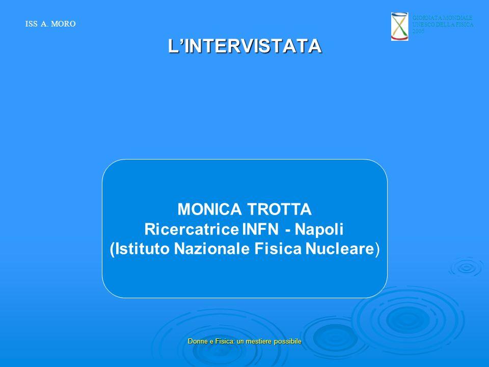 GIORNATA MONDIALE UNESCO DELLA FISICA 2005 Donne e Fisica: un mestiere possibile LINTERVISTATA MONICA TROTTA Ricercatrice INFN - Napoli (Istituto Nazi