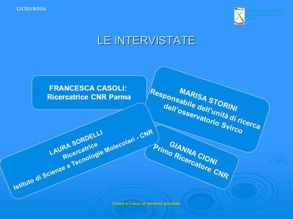 GIORNATA MONDIALE UNESCO DELLA FISICA 2005 Donne e Fisica: un mestiere possibile LE INTERVISTATE LICEO ROSA FRANCESCA CASOLI: Ricercatrice CNR Parma M