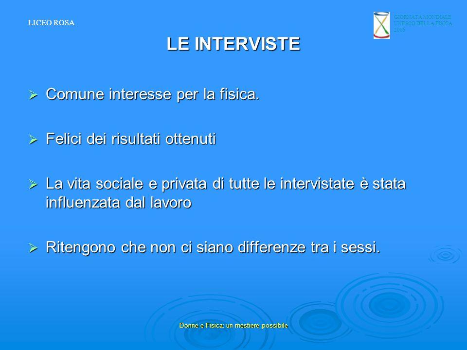 GIORNATA MONDIALE UNESCO DELLA FISICA 2005 Donne e Fisica: un mestiere possibile LE INTERVISTE Comune interesse per la fisica. Comune interesse per la