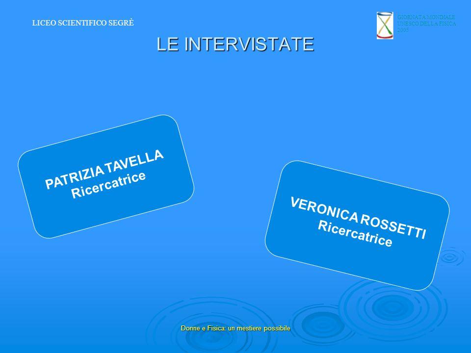 GIORNATA MONDIALE UNESCO DELLA FISICA 2005 Donne e Fisica: un mestiere possibile LE INTERVISTATE PATRIZIA TAVELLA Ricercatrice VERONICA ROSSETTI Ricer