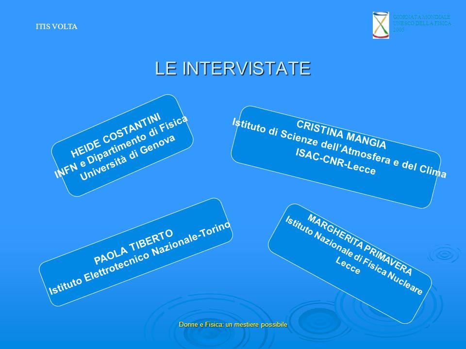 GIORNATA MONDIALE UNESCO DELLA FISICA 2005 Donne e Fisica: un mestiere possibile LE INTERVISTATE HEIDE COSTANTINI INFN e Dipartimento di Fisica Univer