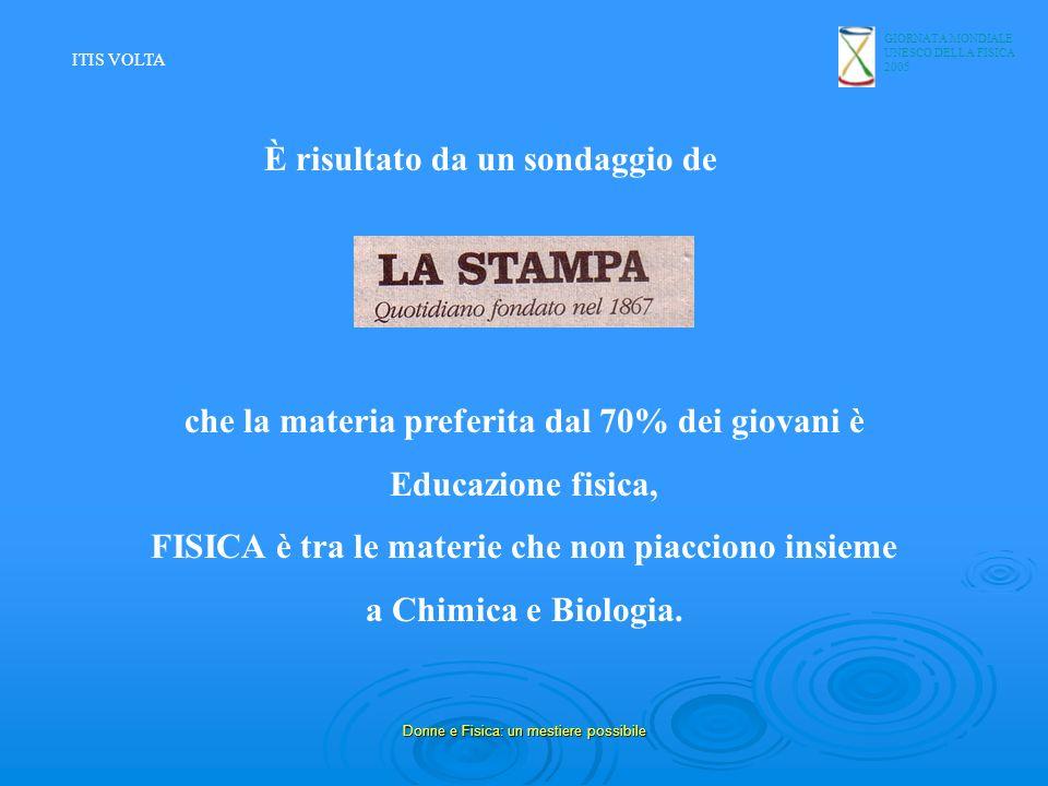 GIORNATA MONDIALE UNESCO DELLA FISICA 2005 Donne e Fisica: un mestiere possibile che la materia preferita dal 70% dei giovani è Educazione fisica, FIS