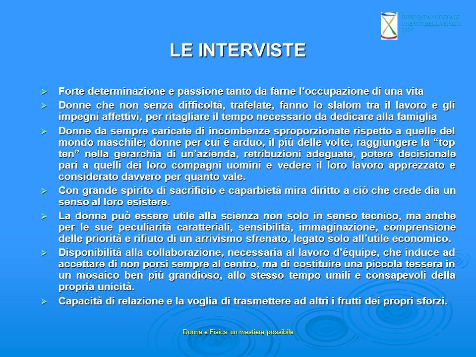 GIORNATA MONDIALE UNESCO DELLA FISICA 2005 Donne e Fisica: un mestiere possibile LE INTERVISTE Forte determinazione e passione tanto da farne loccupaz